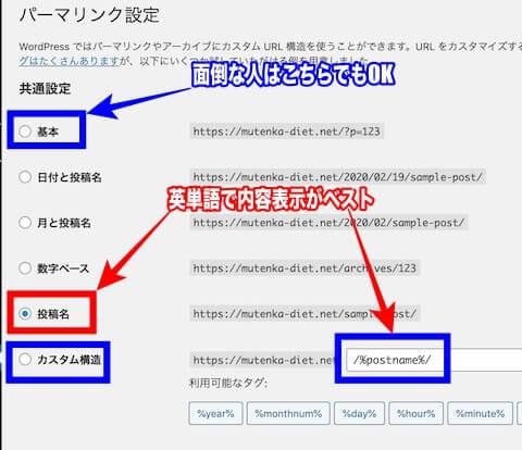 WPブログパーマリンク設定